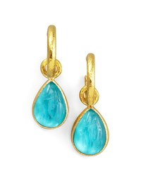 Teal Intaglio Teardrop Earring Pendants Elizabeth Locke Blue
