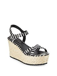 Alice Olivia Rachel Striped Leather Wedge Espadrilles Black White