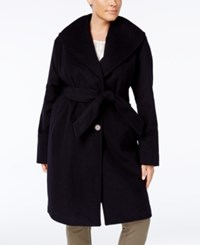 Jones New York Plus Size Asymmetrical Belted Coat Navy
