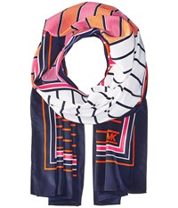 Michael Michael Kors Abbey Multi Stripe Oblong Navy Pink White Scarves Blue