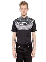 Neil Barrett Printed Cotton Poplin Short Sleeve Shirt
