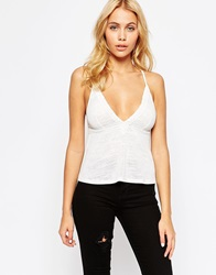Asos Cami Top With Cotton Lace Trim White