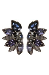 Suzanna Dai Women's Macapa Crystal Earrings Navy Black