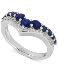 Macy's Sapphire 1 1 3 Ct. T.W. And Diamond 1 8 Ct. T.W. Chevron Ring In 14K White White Gold
