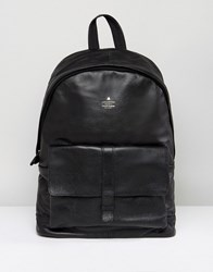 Asos Backpack With Leather Front Pocket And Embossed Logo Black