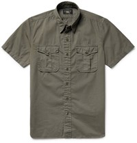 Rrl Brushed Cotton Twill Shirt Army Green
