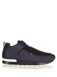 Balmain Doda Low Top Leather Trainers Navy Multi