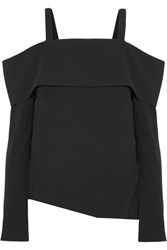 Tibi Off The Shoulder Crepe Top Black
