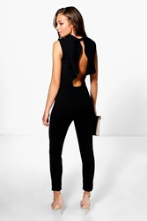 Boohoo Open Frill Back Skinny Leg Jumpsuit Black