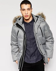 Puffa Caney Coat With Faux Fur Trim Hood Grey