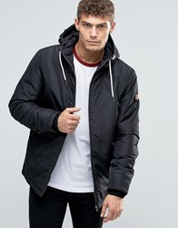 Jack And Jones Hooded Parka With Fleece Lining Black
