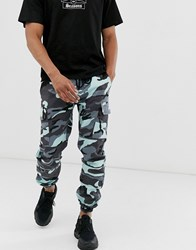 Sixth June Cargo Trousers In Blue Camo
