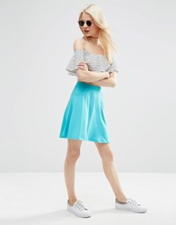 Asos Skater Skirt With Pockets Bright Teal Blue