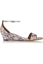Tabitha Simmons Juniper Floral Print Leather Wedge Sandals Pink