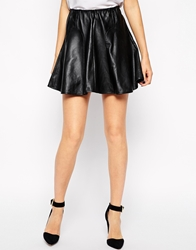 Y.A.S Oracle Skirt In Leather With Flared Hem Black