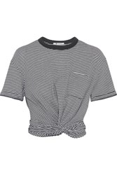 Alexander Wang T By Cropped Twist Front Striped Cotton Jersey T Shirt Gray
