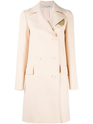 Christian Dior Embellished Double Breasted Coat Nude Neutrals