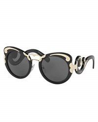Prada Monochromatic Butterfly Scroll Sunglasses Black