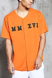 Forever 21 Savage Baseball Jersey Orange Black