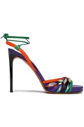 Missoni Leather And Crochet Knit Sandals Violet