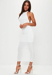 Missguided White High Neck Low Back Maxi Dress