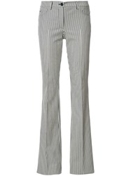 Akris Punto Striped Flared Trousers Nude Neutrals