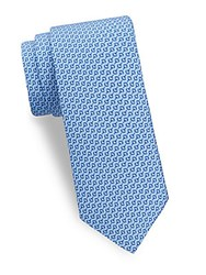 Saks Fifth Avenue Horse Bit Silk Tie Blue