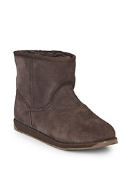 Emu Spindle Merino Wool Lined Suede Mid Calf Boots Chocolate