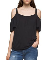 Ck Calvin Klein Ruffled Cold Shoulder Top Black