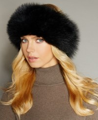 The Fur Vault Fox Knitted Headband Black