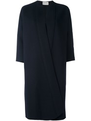 Maison Rabih Kayrouz Long Overlapping Collarless Coat Blue