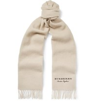 Burberry Logo Embroidered Fringed Cashmere Scarf Beige