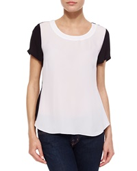 Madison Marcus Bicolor Split Back Tee Black White
