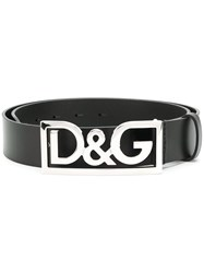 Dolce And Gabbana Logo Buckle Belt Calf Leather Black