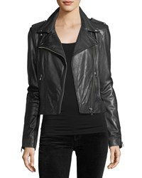Lamarque Classic Leather Biker Jacket Black