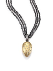 Rene Escobar Diamond 18K Yellow Gold And Sterling Silver Triple Strand Teardrop Pendant Necklace Silver Gold