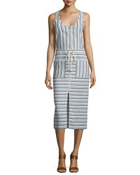 Veronica Beard Harbour Striped Racerback Midi Dress Black White Women's