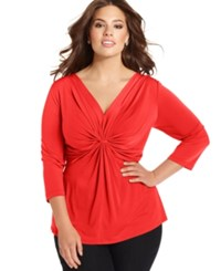 Ny Collection Plus Size Three Quarter Sleeve Twist Front Top Sweet Poppy