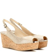 Jimmy Choo Praise Metallic Suede Wedge Sandals