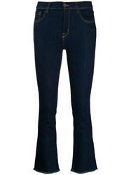 L'autre Chose Fringed Jeans In A Cropped Length Blue