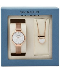 Skagen Women's Rose Gold Tone Stainless Steel Mesh Bracelet Watch And Heart Necklace Boxset 30Mm Skw1072 No Color