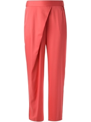Armani Collezioni Asymmetric Pleat Cropped Trousers Pink And Purple