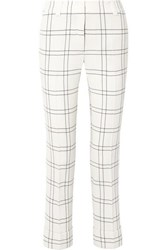Akris Maxima Checked Stretch Wool And Cotton Blend Crepe Straight Leg Pants Ivory