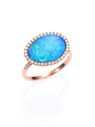 Meira T Opal Diamond And 14K Rose Gold Ring Rose Gold Turquoise
