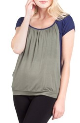 Savi Mom Women's Colorblock Maternity Nursing Tee Navy Olive Contrast