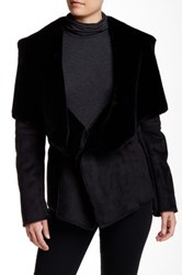 Velvet By Graham And Spencer Nadia Faux Fur Drape Jacket Black