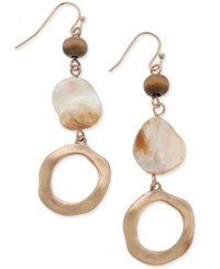 Inc International Concepts Gold Tone Brown Beed White Shell Hammered Circle Drop Earrings Only At Macy's Neutral