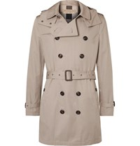 Burberry Cotton Gabardine Hooded Trench Coat Taupe