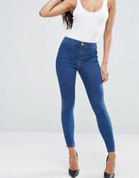 Asos Rivington High Waist Denim Jeggings In Rich Blue With Tobacco Stitching Rich Blue