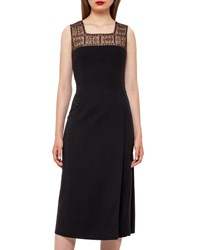Akris Square Neck Godet Pleated Dress Black